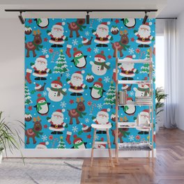 Santa Claus, Snowmen, Reindeer and Christmas Trees Pattern Wall Mural