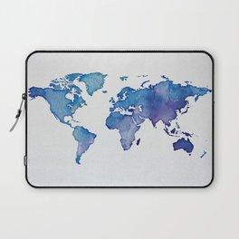 Blue World Map 02 Laptop Sleeve