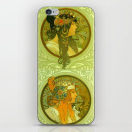 "Alphonse Mucha ""Byzantine Heads: The Blonde and The Brunette"" iPhone Skin"