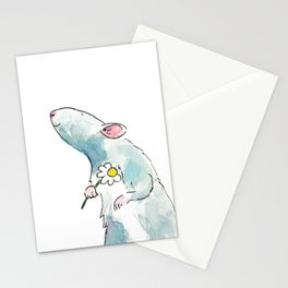 Woodland mouse with a flower Stationery Cards
