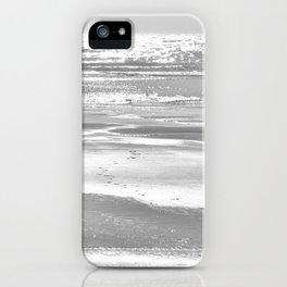 BIRDIE WALKING ON THE BEACH AT SUNSET - BLACK AND WHITE iPhone Case