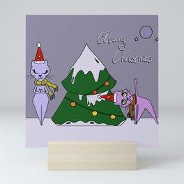 Christmas Cats Practicing Yoga Mini Art Print