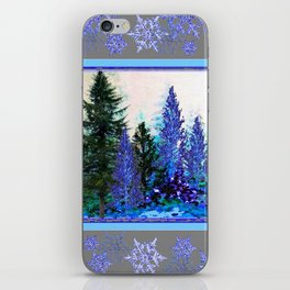 GREY WINTER SNOWFLAKE  CRYSTALS FOREST ART iPhone Skin