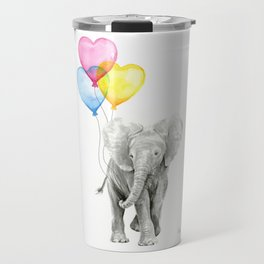 Elephant Watercolor with Balloons Rainbow Hearts Baby Animal Nursery Prints Travel Mug