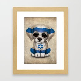 Cute Puppy Dog with flag of Israel Framed Art Print