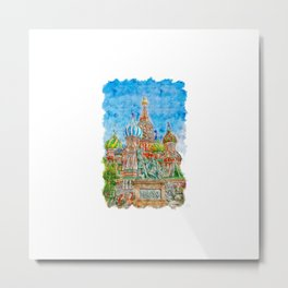 St Basils Cathedral Urban Sketching Metal Print