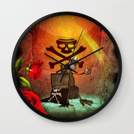 Funny pirate monkey with flag Wall Clock
