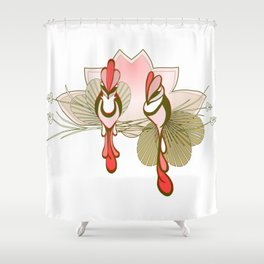 Birds Watching, Flowers & Feathers Shower Curtain
