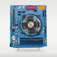 computer Shower Curtains featuring Computer Motherboard by Nick's Emporium