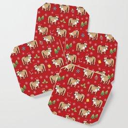 English Bulldog on Christmas Day Coaster