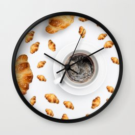 Pattern French croissant on a light background with coffee on a white background with a place for text Wall Clock