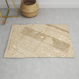 Vintage map of Manhattan Central park in sepia Rug