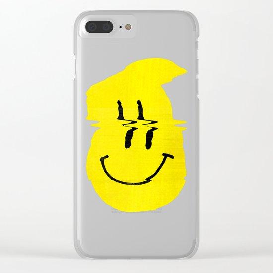 Smiley Glitch Clear iPhone Case