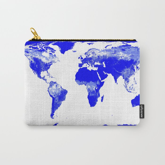 World map Blue & White Carry-All Pouch