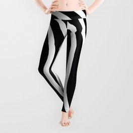 Black and white waved pattern Leggings