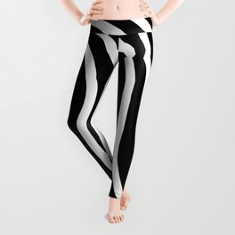 Black and white waved pattern Leggings