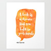 neil gaiman Art Prints featuring Mango, Neil Gaiman, quotes, inspirational art, bookish by Good vibes and coffee