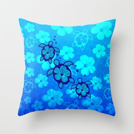 3 Blue Honu Turtles Throw Pillow
