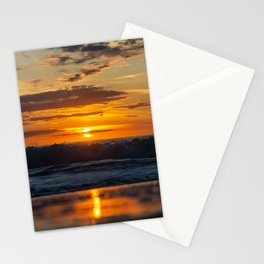 Sunset North Sea Waves Reflections Denmark Bjerregard Beach 7 Stationery Cards