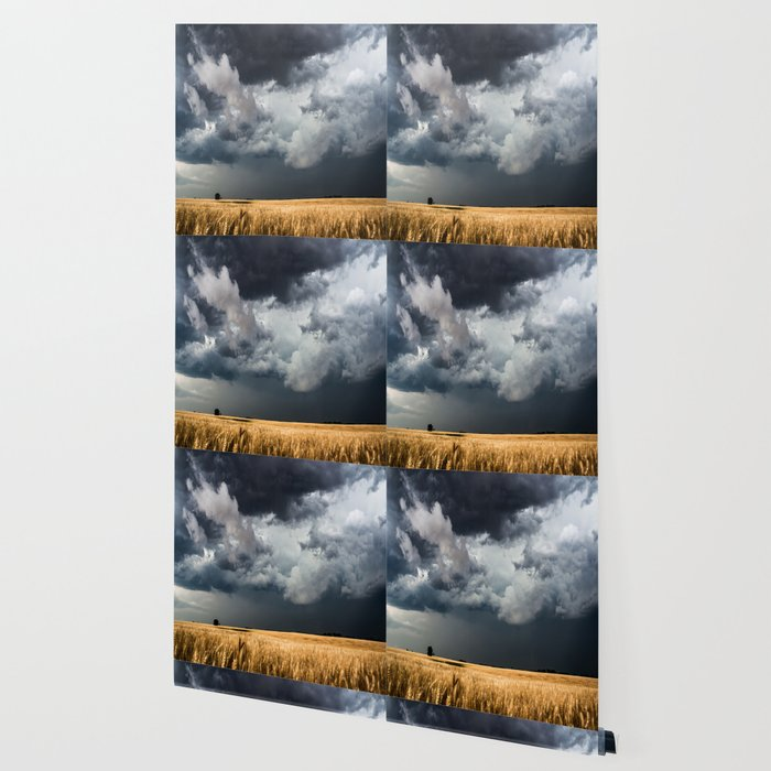 Cotton Candy - Storm Clouds Over Wheat Field in Kansas Wallpaper