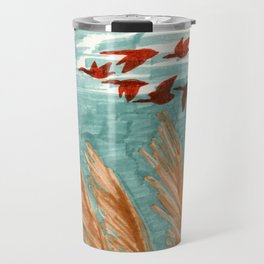 Geese Flying over Pampas Grass Travel Mug