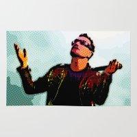 u2 Area & Throw Rugs featuring U2 / Bono 2 by JR van Kampen