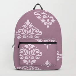 Scroll Damask Art I Pink on Mauve Backpack