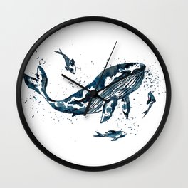 Watercolor Whale in Blue Wall Clock
