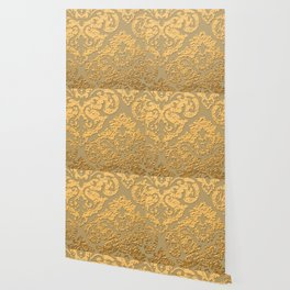 Gold Metallic Damask Print Wallpaper
