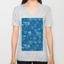 Bright openwork hearts on a light blue background. Unisex V-Neck