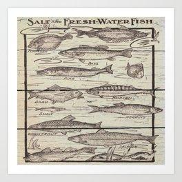 father's day fisherman gifts whitewashed wood lakehouse freshwater fish Art Print