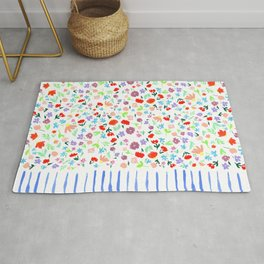 Cute Ditsy Floral Pattern with Blue Stripes Rug