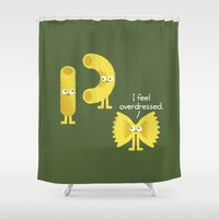 pasta Shower Curtains featuring Pasta Party by David Olenick