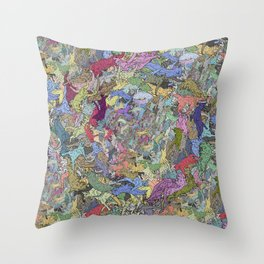 Colorful Flying Cats Throw Pillow
