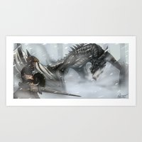 skyrim Art Prints featuring Skyrim by Alex Trinidad Art