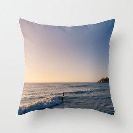 Longboard Surfer Throw Pillow