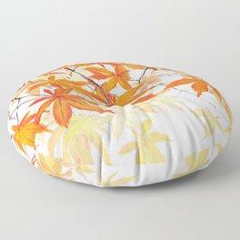 orange maple leaves watercolor Floor Pillow