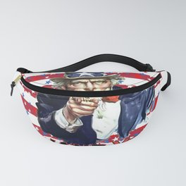 Uncle Sam I Want You With Stars and Stripes Background Fanny Pack
