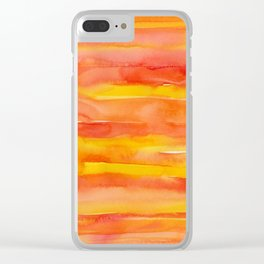 Watercolor Pattern Abstract Summer Sunrise Sky on Fire Clear iPhone Case