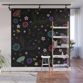 Black Japanese pattern kimono print Wall Mural