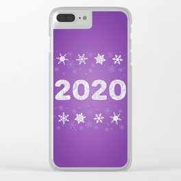 patterned number 2020 and snowflakes on violet background Clear iPhone Case