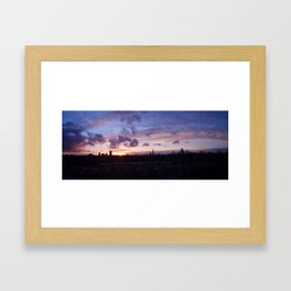 London Sunset Panorama: Pink & Gold Framed Art Print