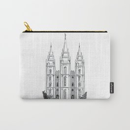Salt Lake LDS Temple Ink Drawing Carry-All Pouch