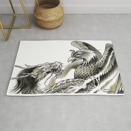 Dragon Phoenix Tattoo Art Print Rug