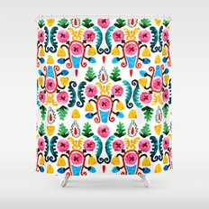 Colorful oriental watercolor floral pattern. Shower Curtain