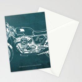 2010 Moto Guzzi V7 Clubman Racer green blueprint Stationery Cards