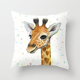 Giraffe Baby Animal with Hearts Watercolor Throw Pillow