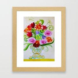 bouquet in ethnic style vase Framed Art Print