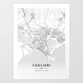 Cagliari, Italy - Light Map Art Print
