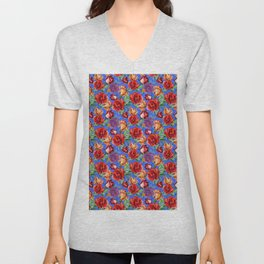 Modern red blue watercolor hand painted botanical roses Unisex V-Neck